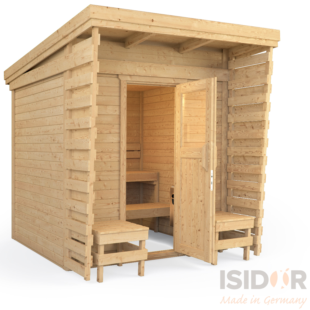 isidor gartensauna saunahaus sauna gartenhaus 2x2m massivholz pultdach ebay. Black Bedroom Furniture Sets. Home Design Ideas