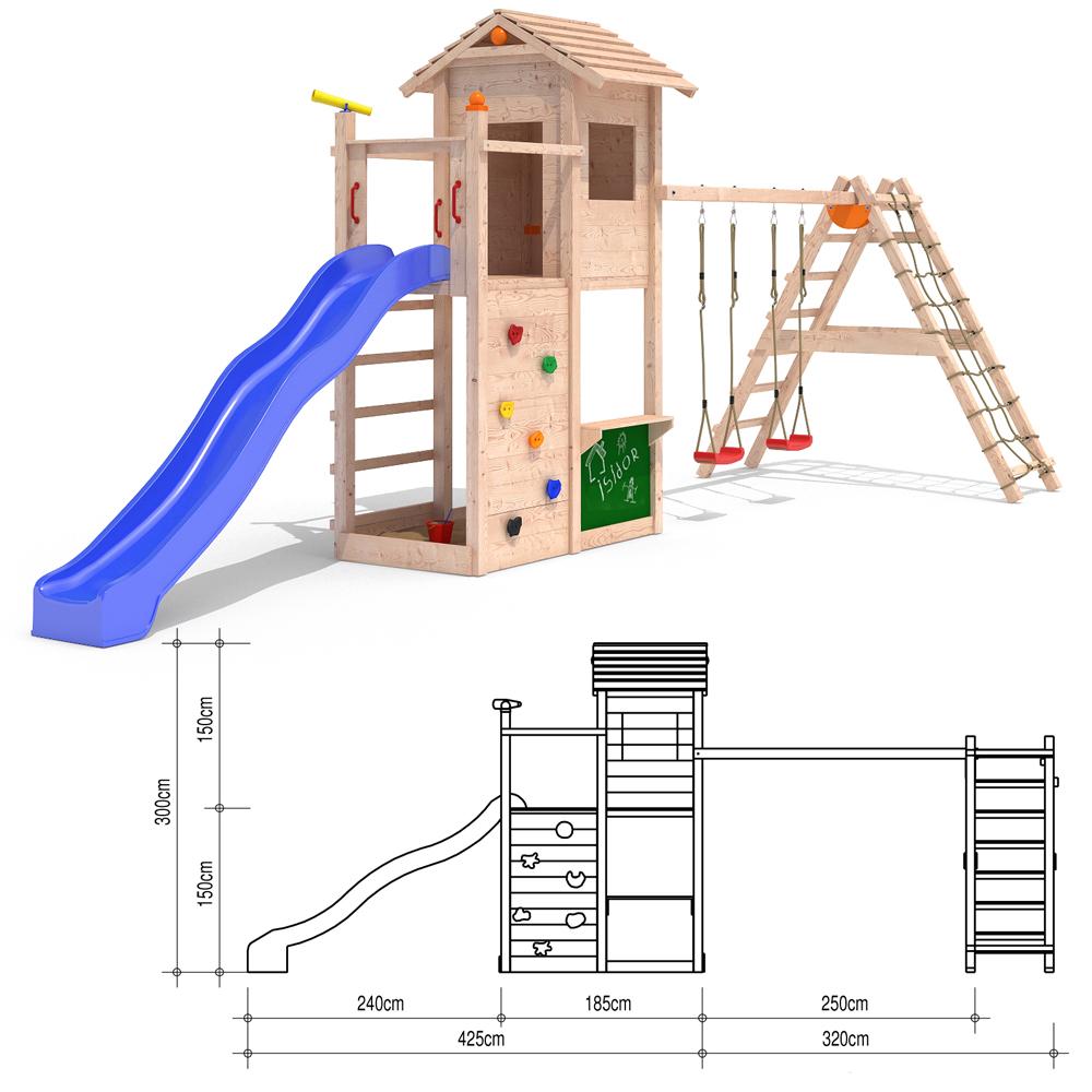 isidor picodo spielturm kletterturm rutsche 2 schaukeln. Black Bedroom Furniture Sets. Home Design Ideas
