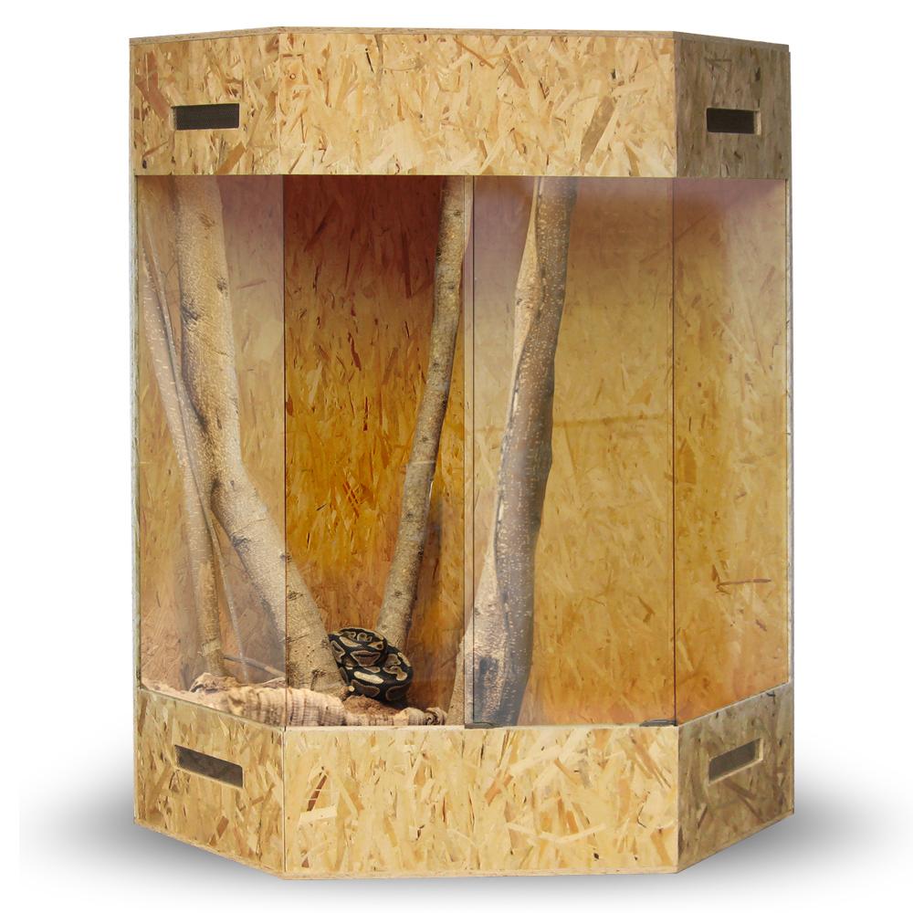 Terrarium Bois eckterrarium coin terrarium osb 180x100x100 cm pages aération bois